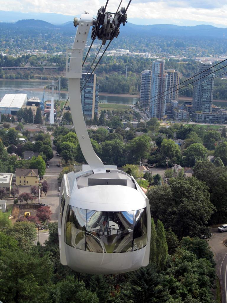 Aerial tram that is part of the Portland public transit program